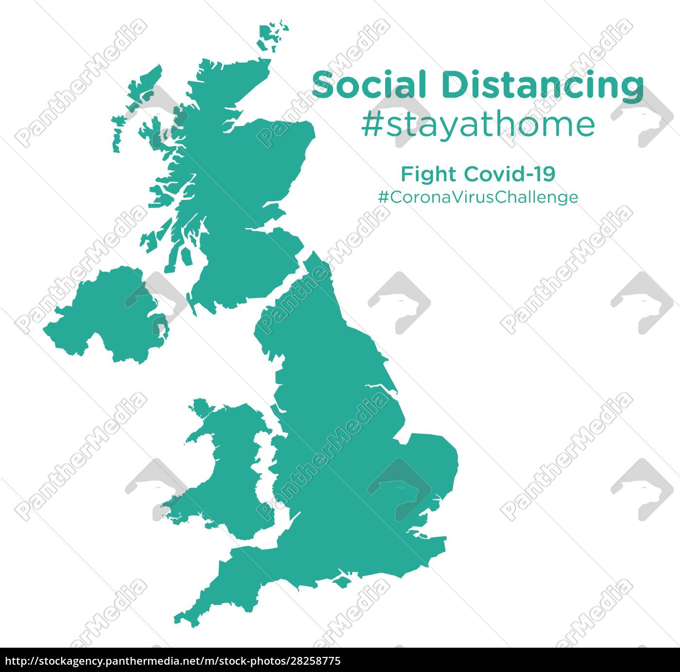 united, kingdom, map, with, social, distancing - 28258775