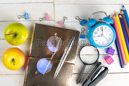 various, office, stationery, , notepad, , clock, , pencils, - 28258180