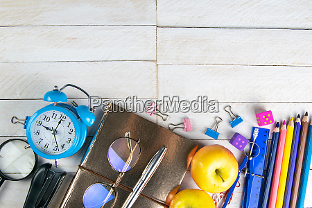 various, office, stationery, , notepad, , clock, , pencils, - 28258289