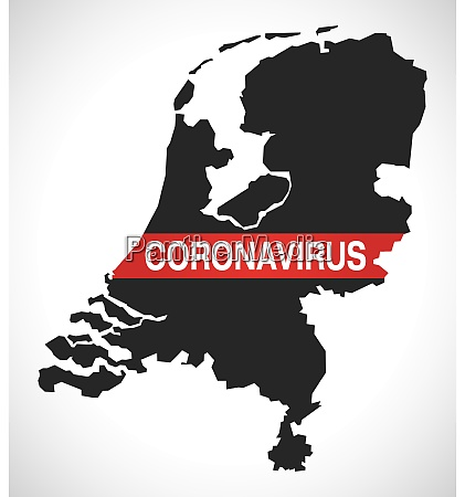 netherlands map with coronavirus warning illustration