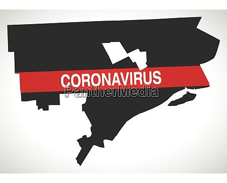 detroit michigan city map with coronavirus