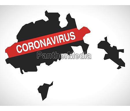 schaffhausen switzerland canton map with coronavirus