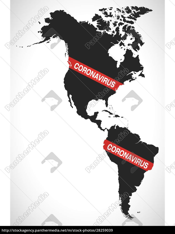 america, continent, map, with, coronavirus, warning - 28259039