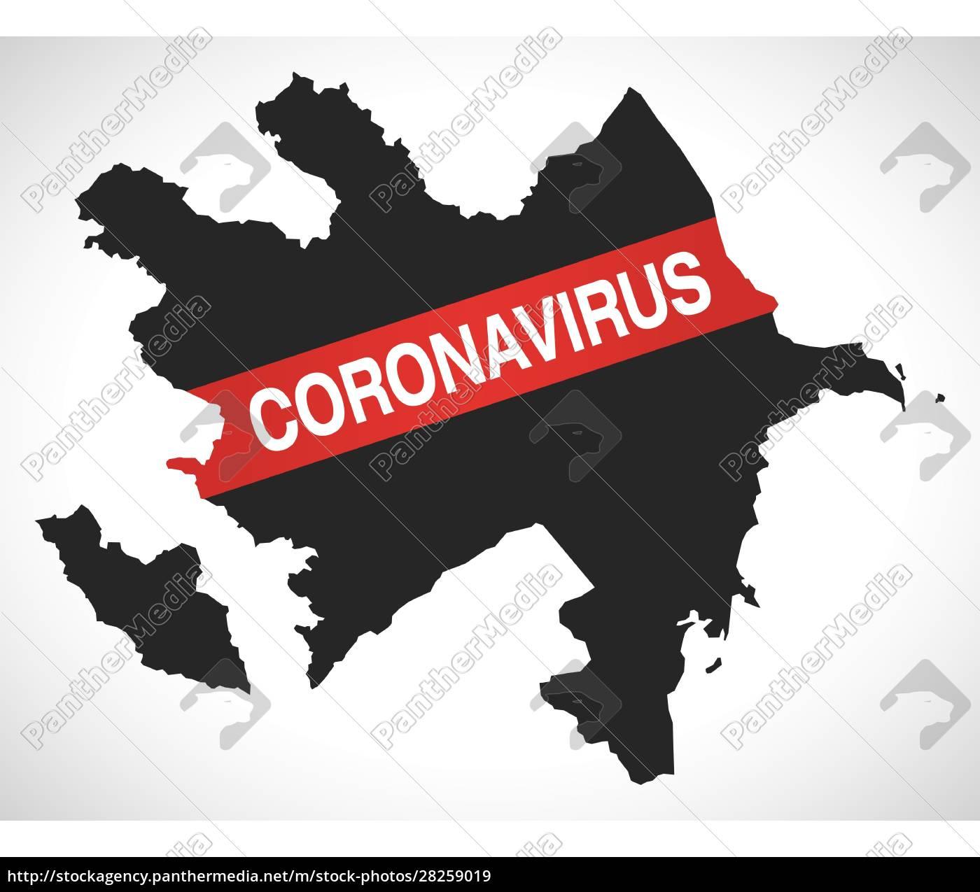 azerbaijan, map, with, coronavirus, warning, illustration - 28259019