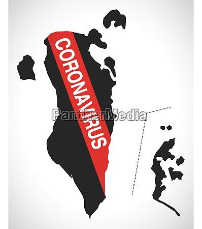 bahrain, map, with, coronavirus, warning, illustration - 28259095