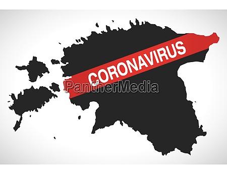 estonia, map, with, coronavirus, warning, illustration - 28259002