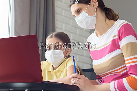 girl, and, tutor, in, medical, masks - 28259163