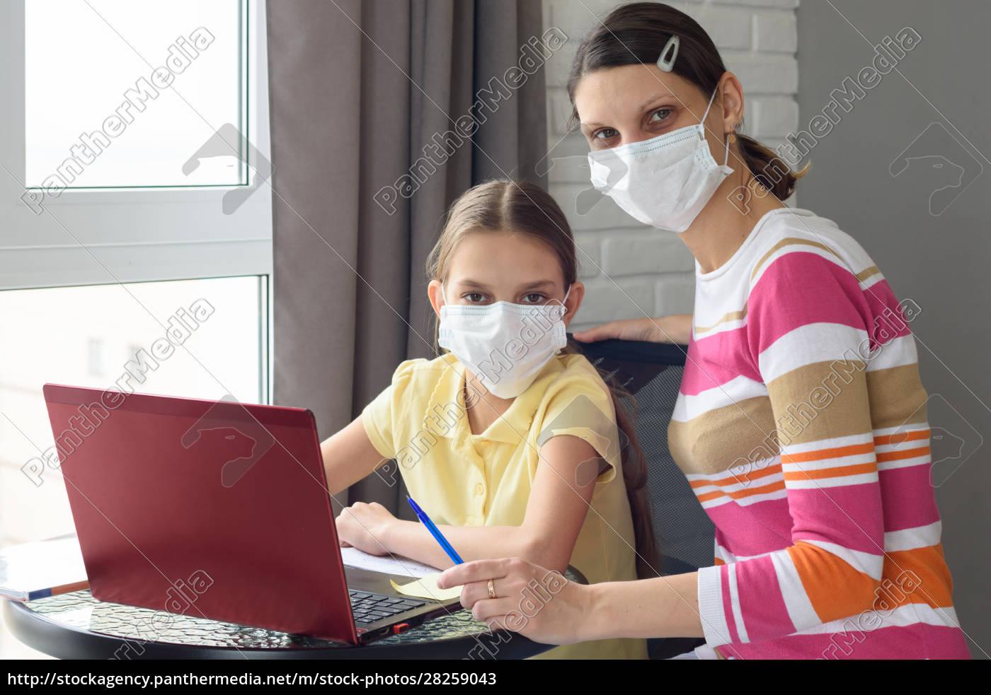 mom, and, daughter, do, their, homework - 28259043