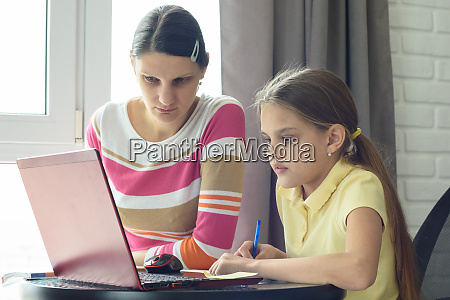 mom, and, daughter, solve, homework, using - 28259024