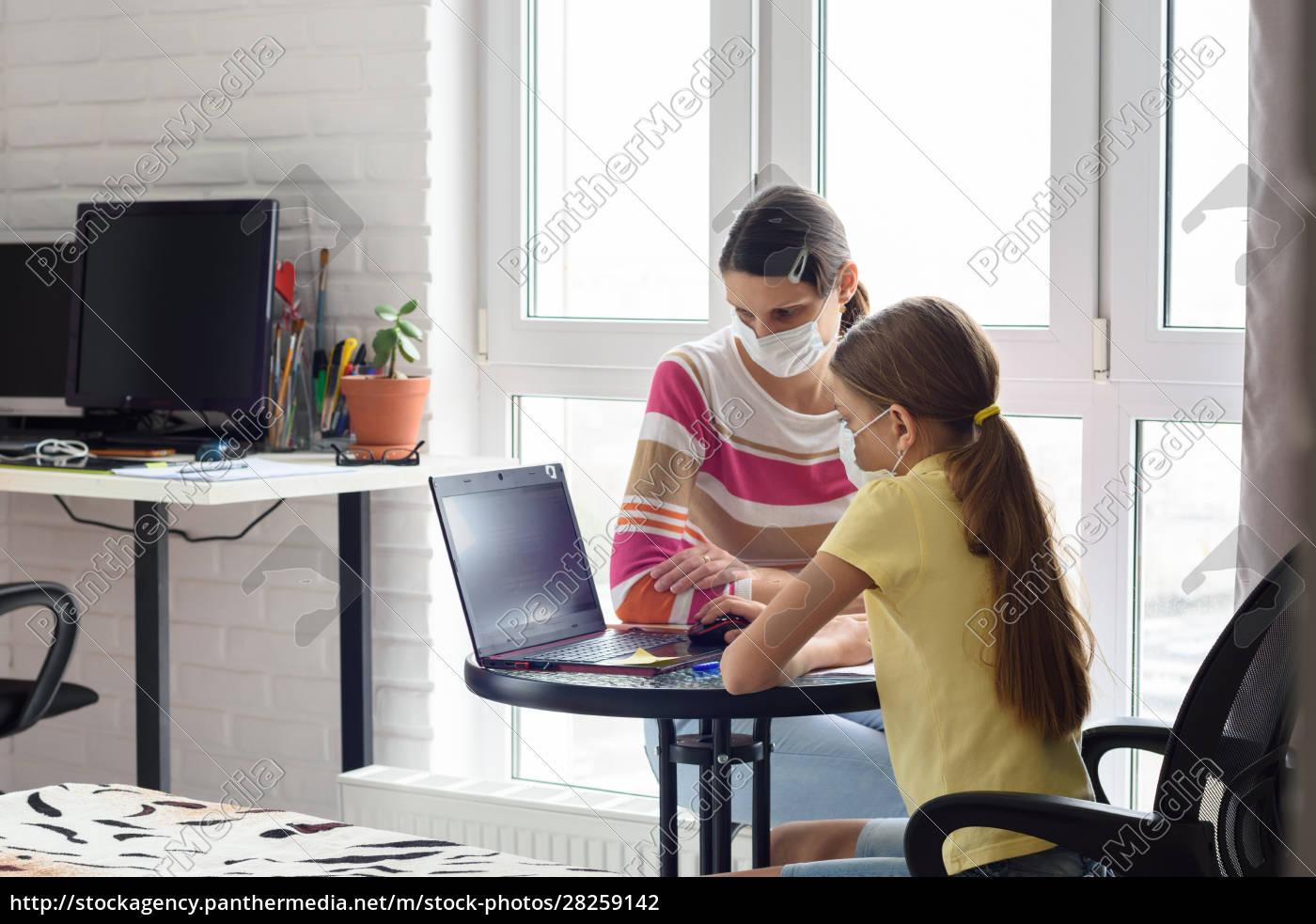 mom, helps, daughter, do, homework, , both - 28259142