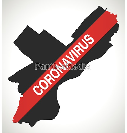 philadelphia, city, map, with, coronavirus, warning - 28259176