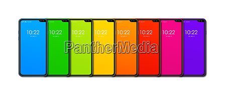 rainbow, colorful, smartphone, set, banner., isolated - 28259671