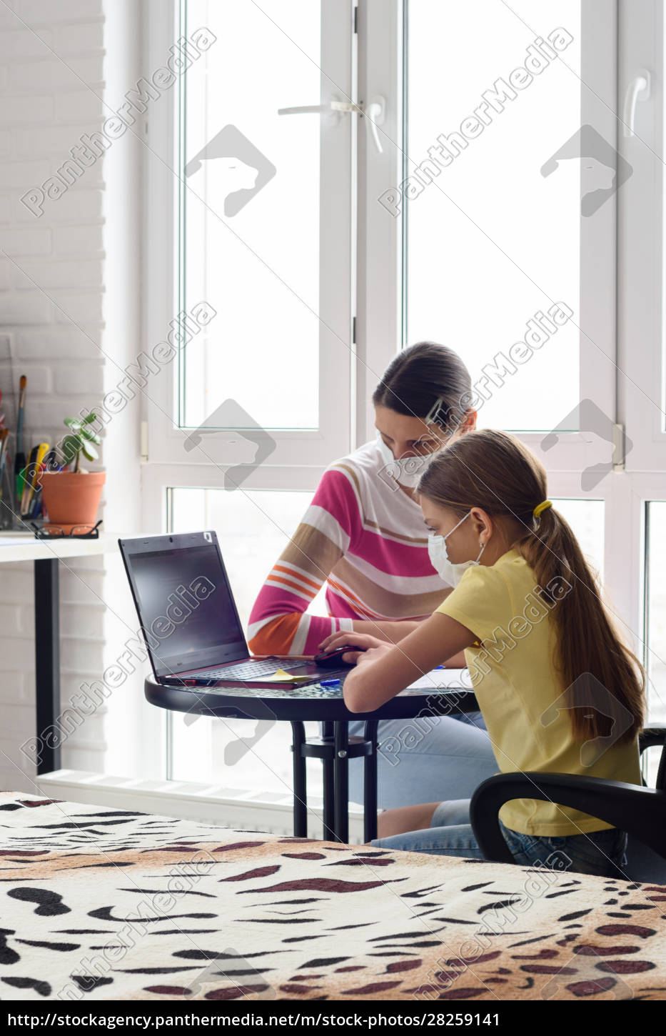 self-isolation, , mom, and, daughter, study, at - 28259141