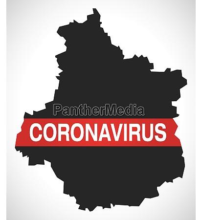 centre france region map with coronavirus