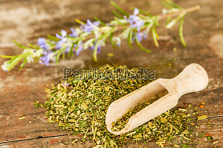 herbs of provence in a wooden
