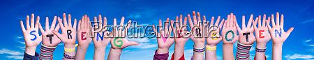 children hands building word streng verboten