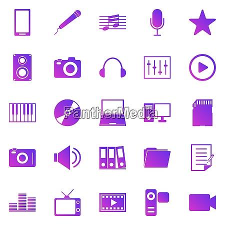 media gradient icons on white background
