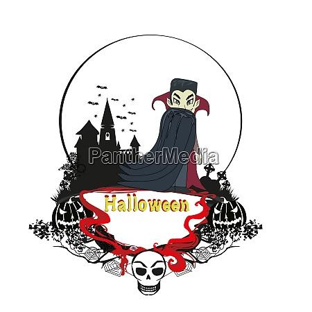 vampire night halloween card