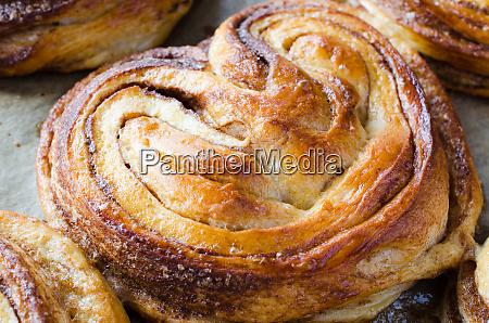 baked fresh fragrant cinnamon buns traditional