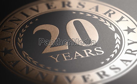 20th anniversary golden stamp over black