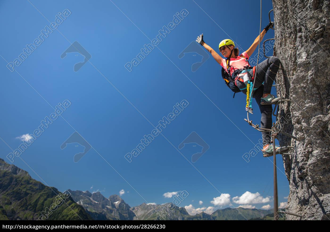 pretty, , female, climber, on, a, via - 28266230