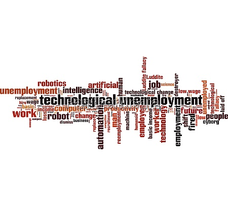 technological unemployment word cloud
