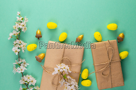 two easter gifts yellow eggs and