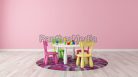 3d rendering kids room preschool