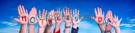 children hands building word mothers day