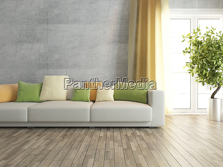 living room with concrete wall rendering