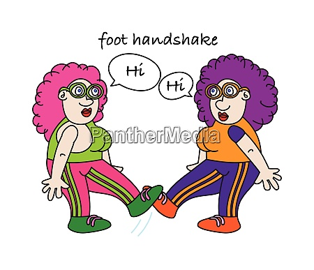 funny coronavirus foot handshake alternative