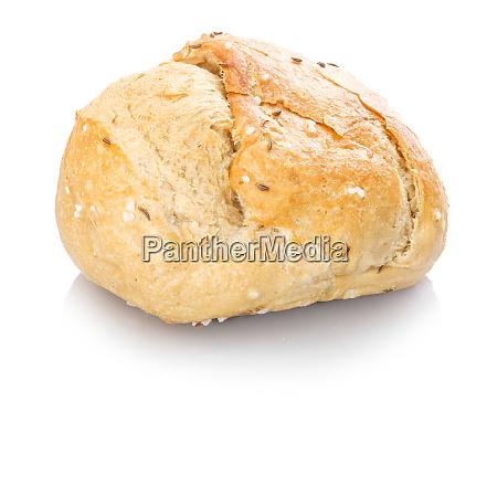 spelt roll with salt white isolated
