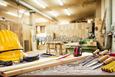carpenter tools on the workbench