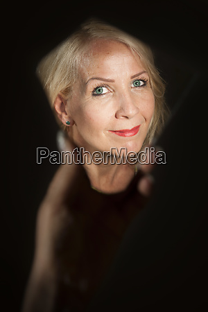 face of blonde woman in the