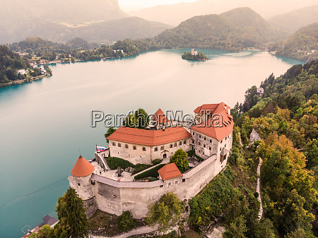 aerial view of lake bled and