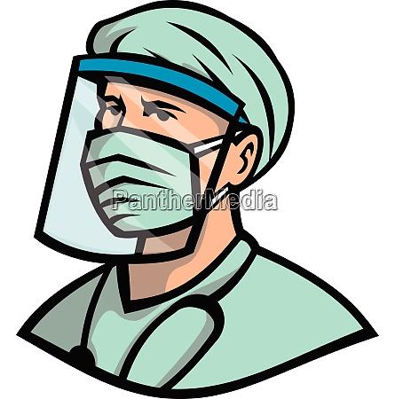 medical professional wearing face mask mascot