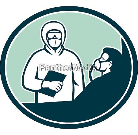 nurse treating covid 19 patient oval