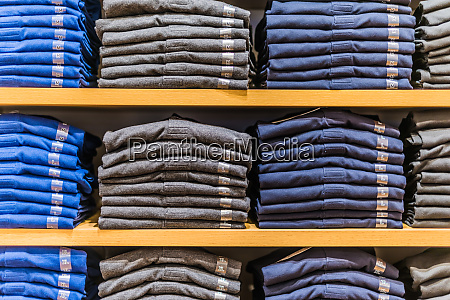 clothing products on the shelf in