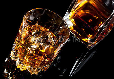 glass and decanter of whiskey