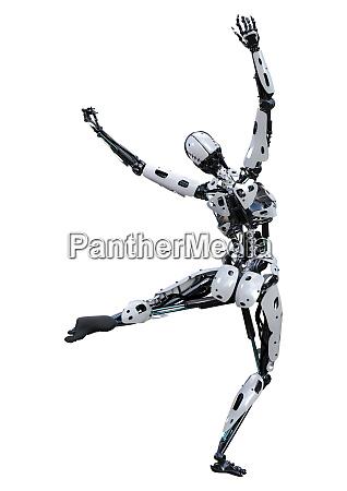 3d, rendering, female, robot, on, white - 28277797