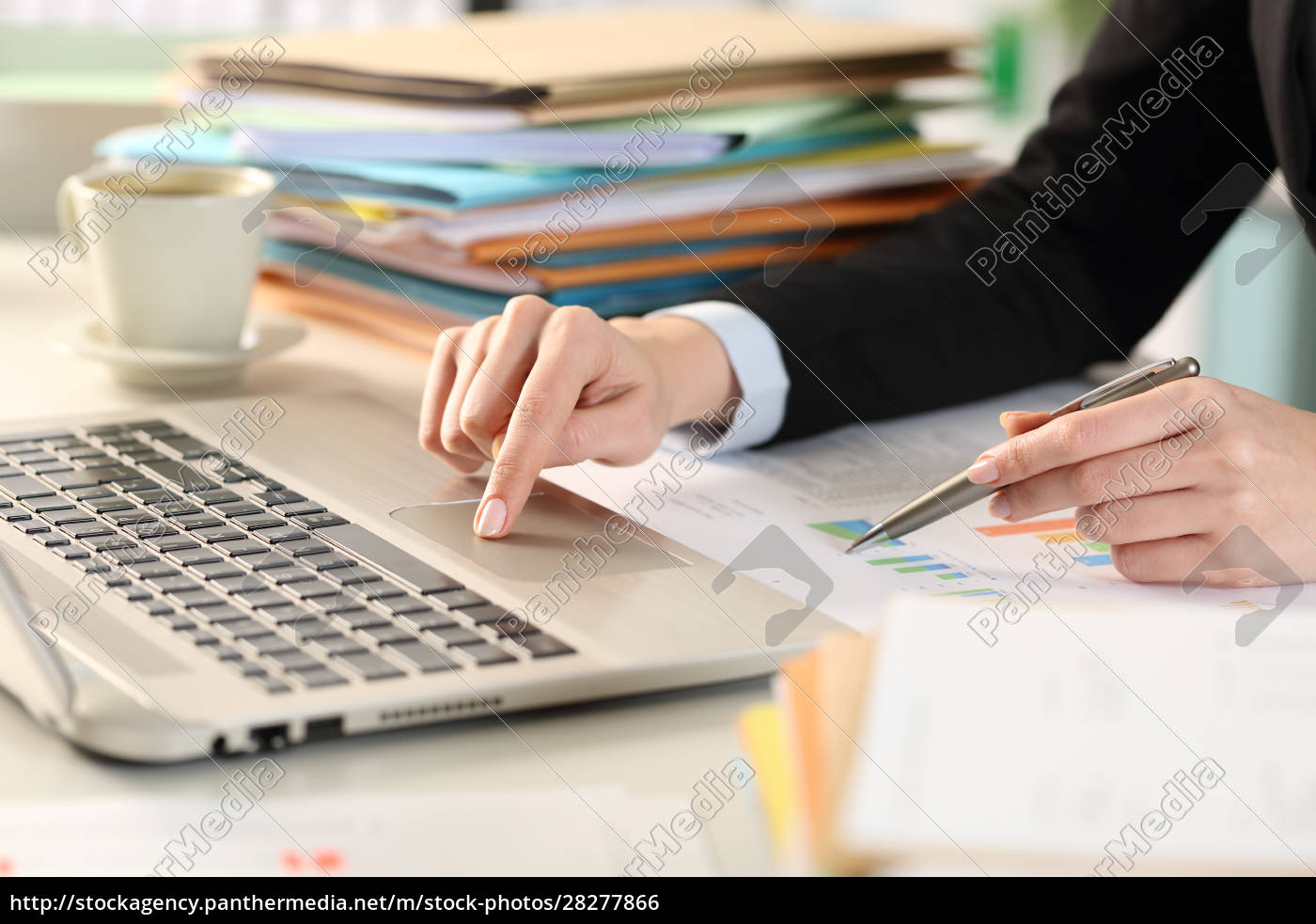 business, woman, hand, comparing, report, with - 28277866