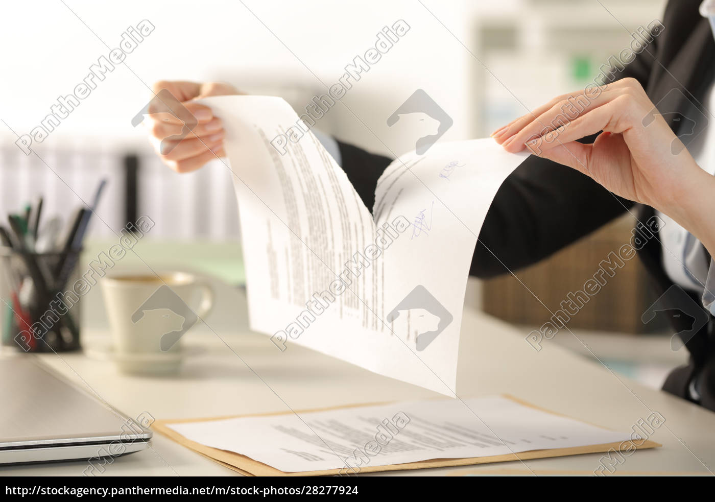 business, woman, hands, breaking, document, at - 28277924