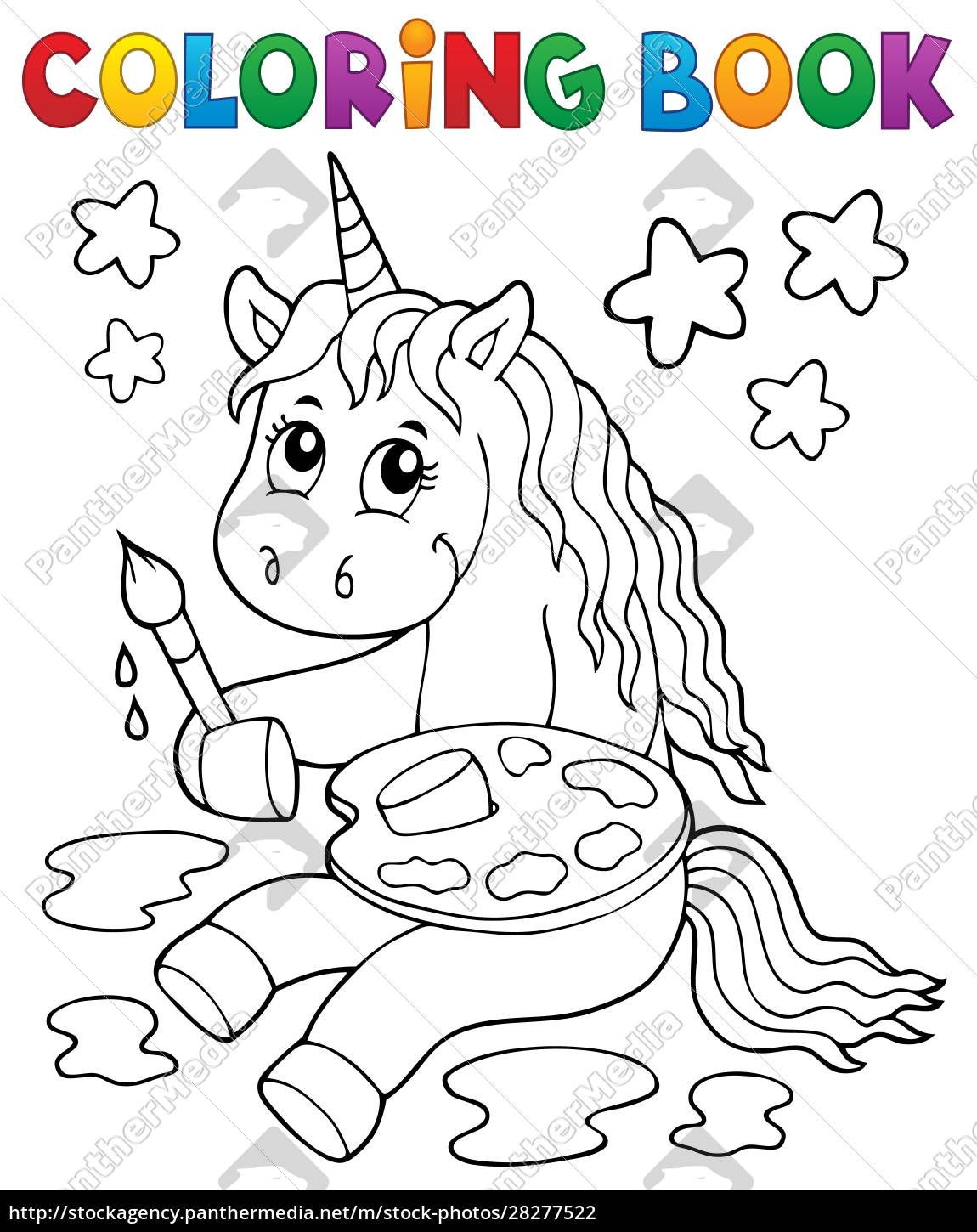 coloring, book, painting, unicorn, theme, 1 - 28277522
