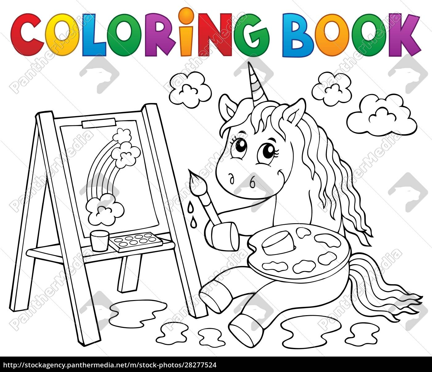 coloring, book, painting, unicorn, theme, 2 - 28277524