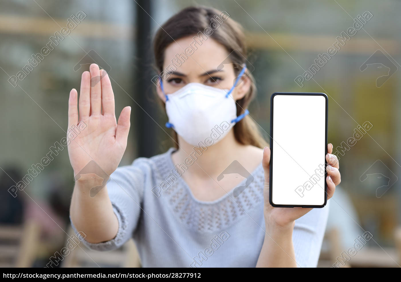 girl, with, mask, gesturing, stop, showing - 28277912