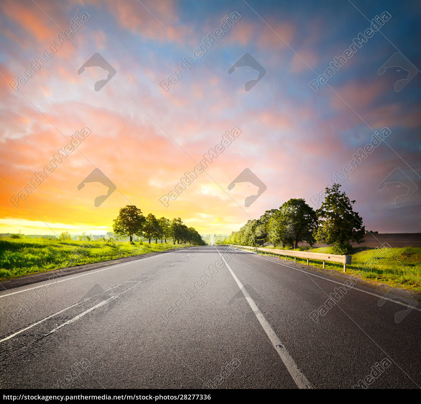 landscape, with, asphalt, road, among, fields - 28277336