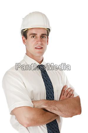 proud architect on white