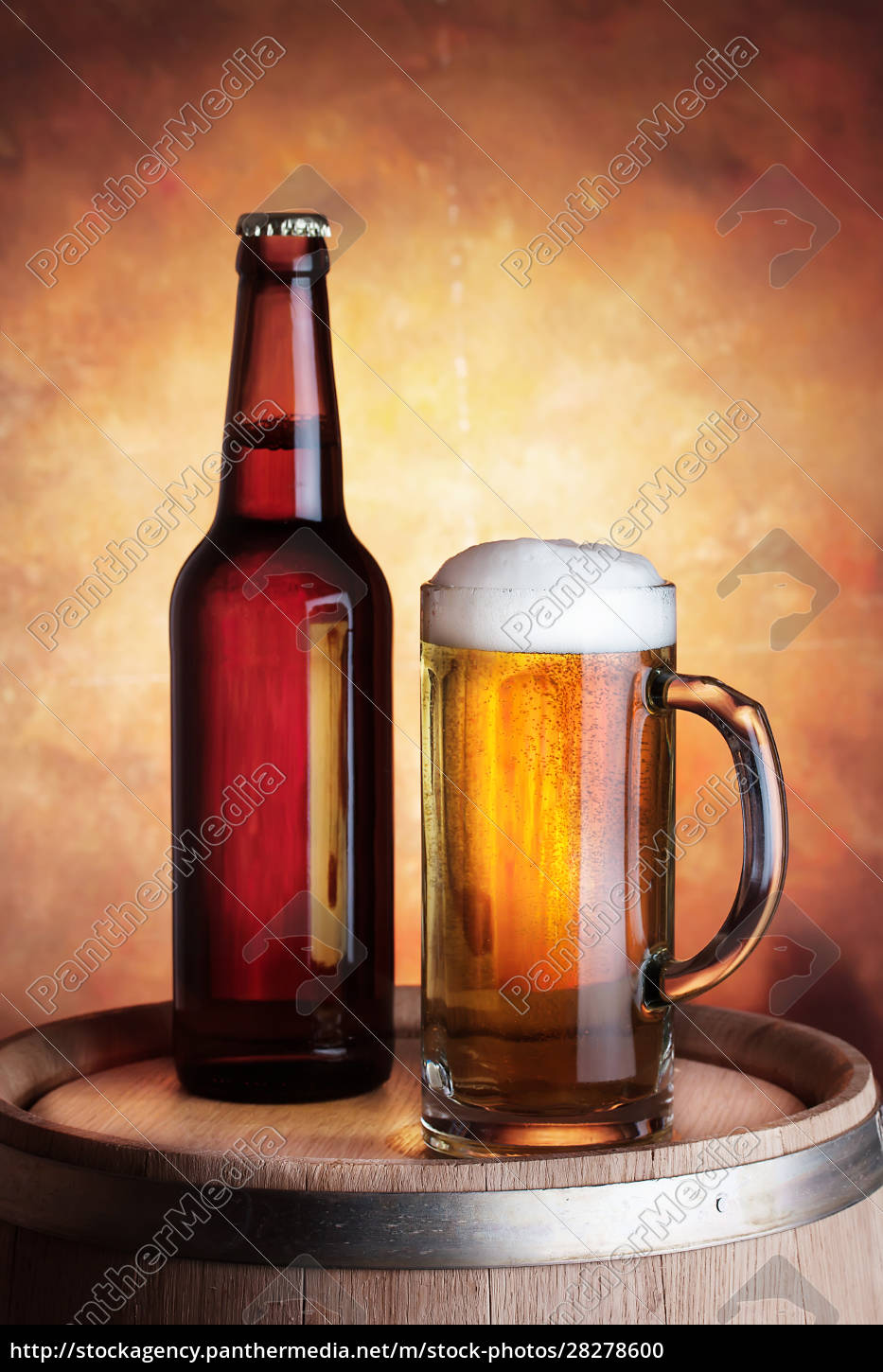 bottle, and, glass, of, beer - 28278600