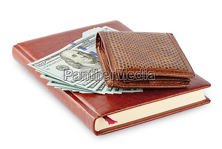 diary, and, brown, leather, wallet, with - 28278592