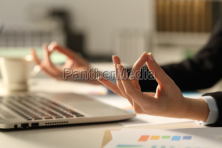 executive, hands, relieving, stress, doing, yoga - 28278053